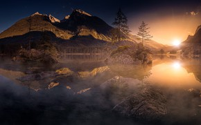 Картинка осень, горы, утро