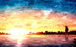Картинка закат, девочка, водоем