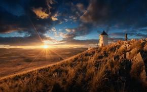 Картинка солнце, облака, свет, человек, Испания, ветряная мельница
