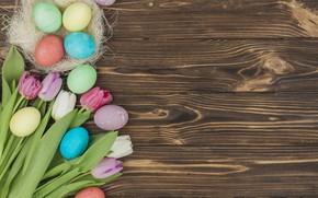 Картинка цветы, яйца, colorful, Пасха, тюльпаны, happy, flowers, tulips, eggs, easter, decoration