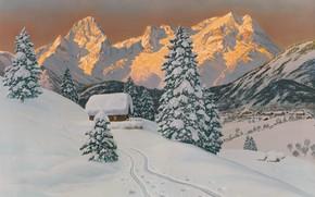 Картинка Alois Arnegger, австрийский живописец, Austrian landscape painter, oil on canvas, Алоис Арнеггер, The Grosser Pril …