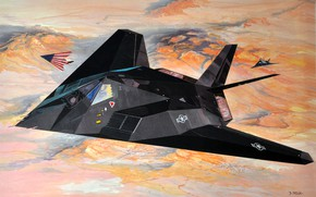 Картинка USAF, дозвуковой тактический, F-117 Nighthawk, малозаметный ударный истребитель