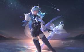 Картинка лед, девушка, ночь, меч, Genshin Impact, Eula