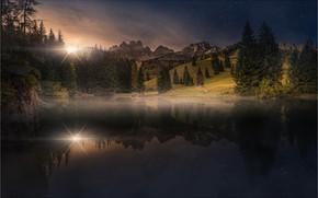 Картинка лес, небо, солнце, звезды, закат, горы, озеро, отражение, Friedrich Beren