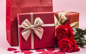 Картинка любовь, цветы, подарок, сердце, розы, red, love, romantic, hearts, valentine's day, gift, roses, I love …