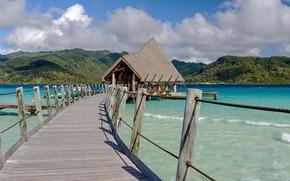Картинка океан, причал, курорт, бунгало, Tahiti, Французская Полинезия, Le Taha'a Island Resort & Spa