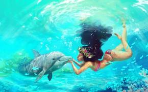 Картинка девушка, дельфин, под водой, Moana, Moana Waialiki, by Pauline Voß