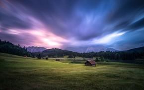Картинка дорога, поле, лес, лето, небо, трава, облака, горы, тучи, природа, холмы, склоны, вершины, поля, вечер, …