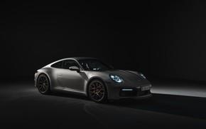 Картинка купе, 911, Porsche, тёмный фон, Carrera 4S, 992, 2019