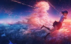 Картинка гольфы, школьницы, жест, невесомость, с высоты, парит над землёй, небо в облаках, матросва, by Nacomo