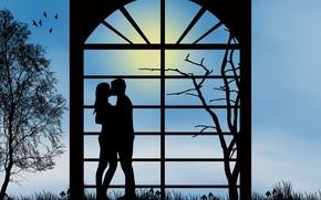 Картинка любовь, романтика, поцелуй, вечер, пара, отношения, силуэты, свидание