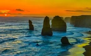 Картинка море, закат, скалы, Австралия