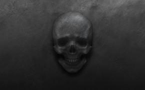 Обои металл, череп, черный фон