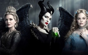Картинка крылья, корона, Анджелина Джоли, Angelina Jolie, фэнтези, рога, постер, персонажи, Мишель Пфайффер, Maleficent, Elle Fanning, …