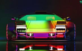 Картинка Авто, Lamborghini, Неон, Машина, Фары, Car, Art, Neon, Countach, Рендеринг, Concept Art, Lamborghini Countach, Передок, …
