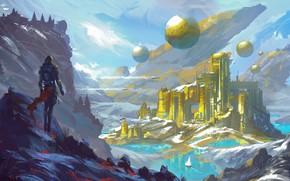 Картинка fantasy, river, sky, landscape, nature, science fiction, mountains, snow, tree, spaceship, sci-fi, Temple, ship, digital …