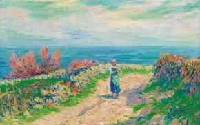 Картинка пейзаж, картина, Анри Море, Henry Moret, Дорога у Моря