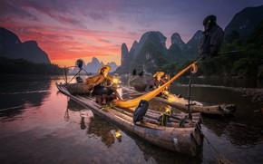 Картинка лодка, Китай, рыбак, баклан, птица, Гуанси
