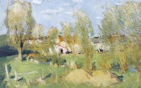 Картинка картина, Пьер Эжен Монтезин, Вход в Деревню, Pierre Eugene Montezin, пейзаж