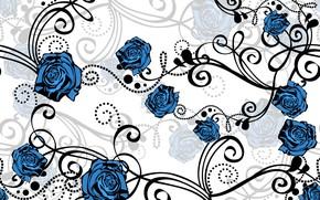 Картинка белый, цветы, фон, голубой, узор, розы, вектор