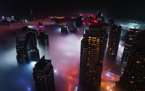 Картинка city, lights, Dubai, night, buildings, skyscrapers, cityscape, UAE, mist, United Arab Emirates