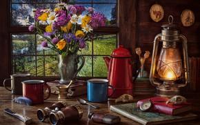 Картинка цветы, стиль, книги, букет, окно, фонарь, бинокль, кружки, натюрморт, компас, кофейник