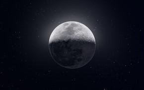 Картинка Moon, Stars, Space