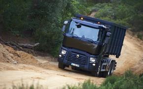 Картинка дорога, растительность, грузовик, Renault, кузов, трёхосный, Renault Trucks, C-series