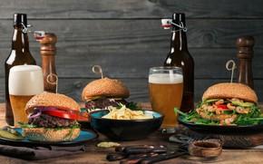 Картинка пена, пиво, стаканы, бутылки, гамбургеры