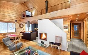 Картинка дизайн, дом, дерево, интерьер, печь
