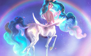Картинка небо, девушка, радуга, фэнтези, единорог, My Little Pony: Friendship Is Magic, Princess Celestia, by Pauline …