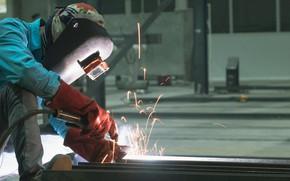 Картинка gloves, sparks, welder, metallurgical, welding mask