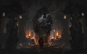 Картинка огонь, сумрак, свечи, фонари, монах, колонны, посох, пещера, божество, buddha, статуя богини Дурги, буддийский храм, …