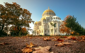 Картинка осень, листья, деревья, пейзаж, архитектура, Кронштадт, Никольский Морской собор
