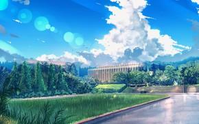 Картинка трава, облака, пейзаж, природа