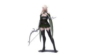 Картинка Girl, Art, Style, Fiction, Blonde, Elf, Minimalism, Archer, Armor, Bow