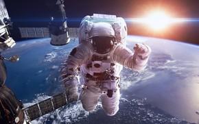 Картинка Солнце, Станция, Земля, Астронавт, Космонавт, Спутник, Planet, Station, Sun, Орбита, Система, Satellite, Orbit, Astronaut, Cosmonaut, …
