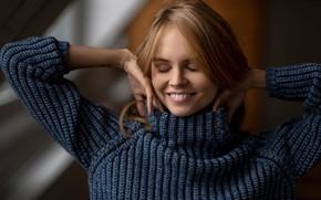 Картинка улыбка, Девушка, блондинка, свитер, Анастасия Щеглова, Chris Bos