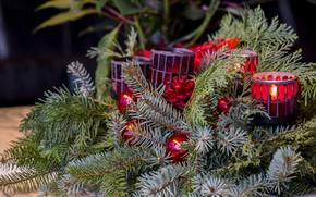 Картинка украшения, свечи, композиция, новогодний венок, с рождеством, ветки ели