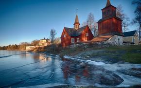 Картинка церковь, зима, природа, деревня, озеро, лёд, пейзаж