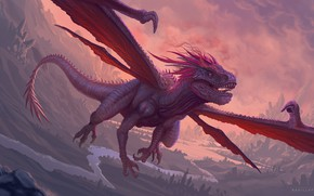 Картинка Существо, Дракон, Крылья, Пасть, Fantasy, Dragon, Art, Style, Фантастика, Wings, Mouth, Creatures, Creature, Francisco Badilla, …