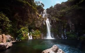 Картинка лето, небо, вода, деревья, природа, камни, Франция, водопад, водоем, Bassin des Aigrettes
