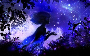 Картинка лилии, фэнтези, девушка, ночь, by 00, небо