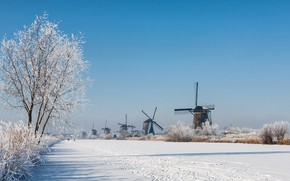 Картинка зима, иней, снег, Нидерланды, ветряная мельница, Киндердейк