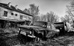Картинка машины, дом, монохром