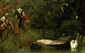 Картинка лебедь, Arthur Hughes, Леди Шалот, 1872-1873
