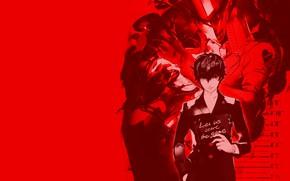 Картинка игра, аниме, арт, парень, красный фон, персона, Persona 5