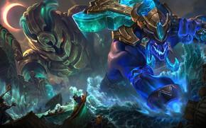 Картинка море, лодки, маги, League Of Legends, Trundle, Nautilus