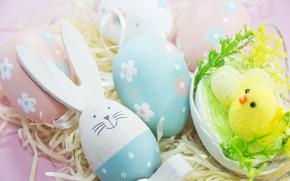 Картинка яйца, кролик, Пасха, сено, Праздник