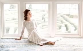 Картинка девушка, фон, окно